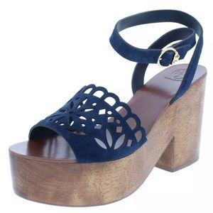 Tory Burch Womens May Navy Suede Platform Sandals